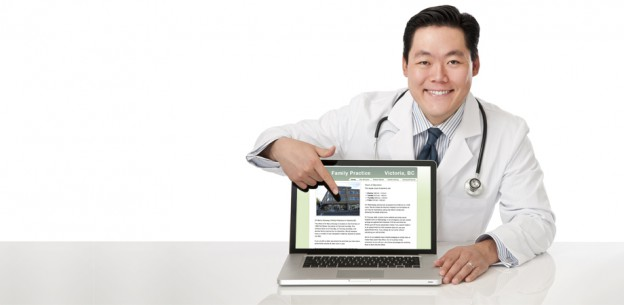 Doctor pointing at website